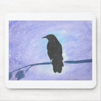Stargazing Crow Mouse Pad