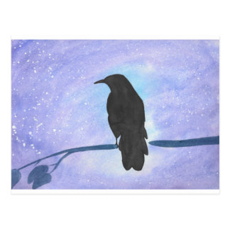 Stargazing Crow Postcard