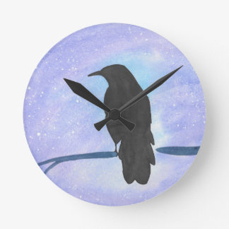 Stargazing Crow Round Clock