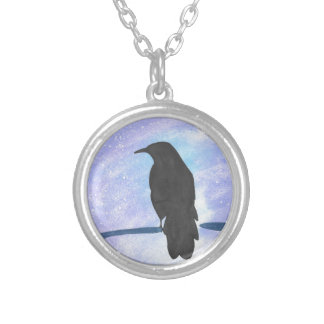 Stargazing Crow Silver Plated Necklace
