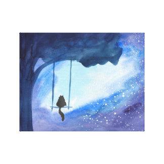 Stargazing Kitty 14x11 Canvas