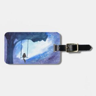 Stargazing Kitty Luggage Tag