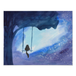 Stargazing Kitty Poster