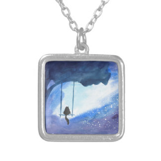 Stargazing Kitty Silver Plated Necklace