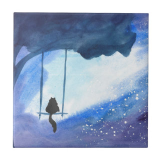 Stargazing Kitty Small Square Tile