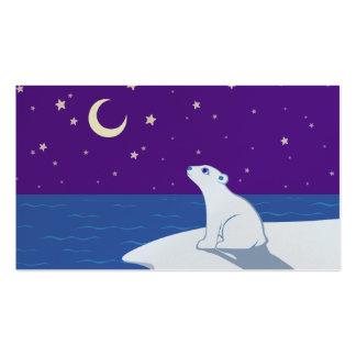 Stargazing Polar Bear Cub Art Business Card
