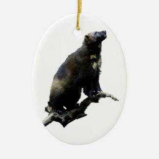 Stargazing Wolverine Ceramic Ornament