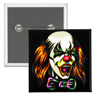 Staring Evil Clown Pinback Buttons