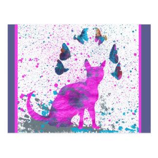 Staring Pink Cat and Butterflies Postcard