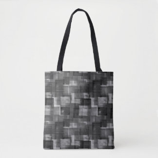 Stark Black Abstract Squares Pattern Tote Bag