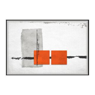 Stark Windows Minimalist Modern Orange and Gray Canvas Print