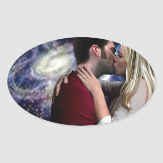 Starlight In Her Kiss Oval Sticker
