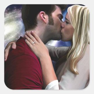 Starlight In Her Kiss Square Sticker