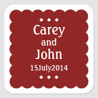 Starlight Square Sticker - Cranberry Red