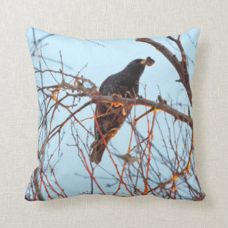 starling at sundown throw pillow