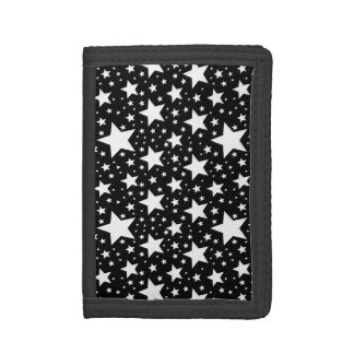 Starry Black Trifold Wallets
