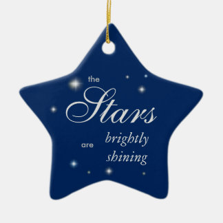 Starry blue merry and bright Christmas Ceramic Star Decoration