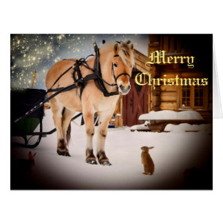 Starry Christmas night at the farm with horse Card