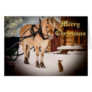 Starry Christmas night at the farm with horse Greeting Card