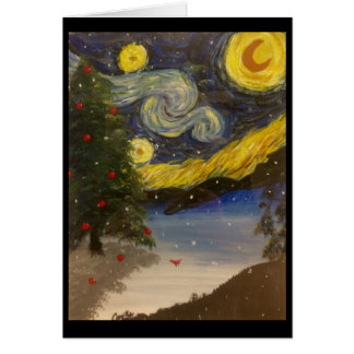 Starry Christmas Night Greeting Card