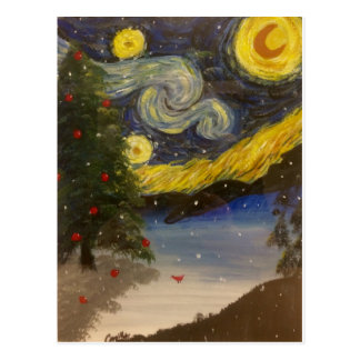 Starry Christmas Night Postcard
