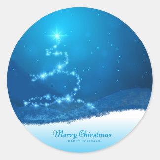 Starry Christmas Tree Round Sticker