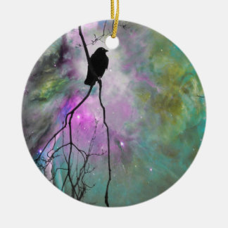 Starry Crow Ceramic Ornament