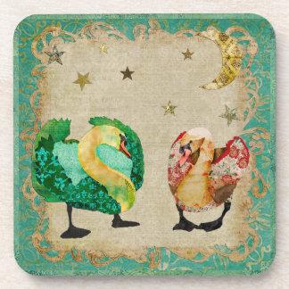 Starry Eyed Swans Cork Coaster