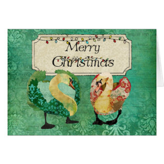 Starry Eyed Swans Merry Christmas Card