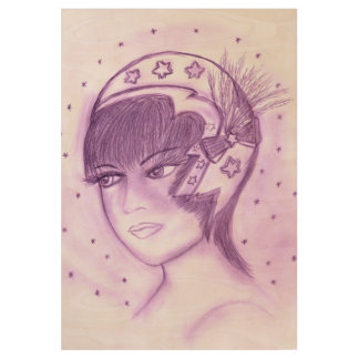 Starry Flapper - Purple Wood Poster