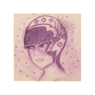 Starry Flapper - Purple Wood Print