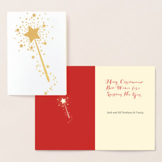 Starry Gold Magic Wand Christmas Card