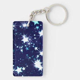 Starry Holiday Double-Sided Rectangular Acrylic Key Ring