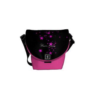 Starry hot pink black stars messenger bag