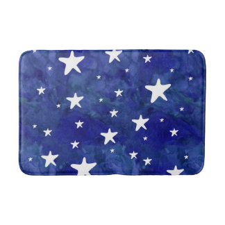 Starry navy blue watercolor bath mat