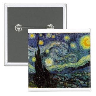 starry night 1889 Vincent van Gogh Pinback Buttons