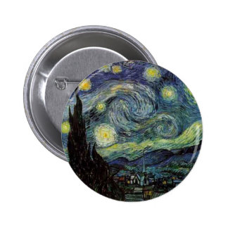 starry night 1889 Vincent van Gogh Pinback Buttons