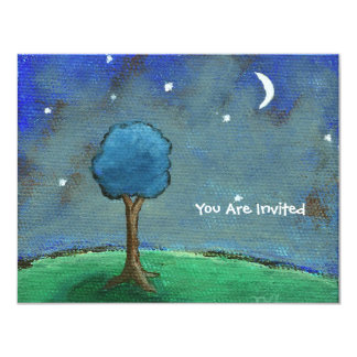 Starry Night, Abstract Landscape Tree Stars Moon 11 Cm X 14 Cm Invitation Card