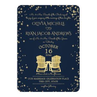 Starry Night Adirondack Chairs Beach Wedding Card