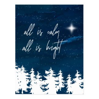 Starry Night All Is Calm All Is Bright Christmas Postcard