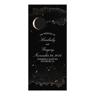 Starry Night and Gold Moon Black Wedding Programs Rack Card