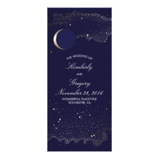 Starry Night and Gold Moon Navy Wedding Programs Customised Rack Card
