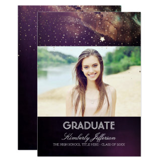 Starry Night and Shooting Star Photo Graduation Card