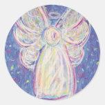 Starry Night Angel Round Sticker