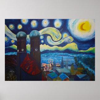 Starry Night at Munich Poster