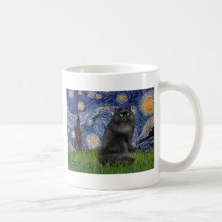 Starry Night - Black Persian cat Mugs