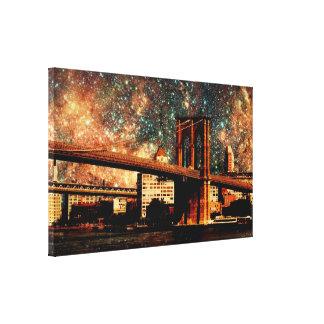 Starry Night Brookyn Bridge Wrapped Canvas