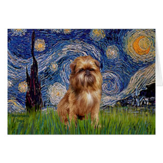 Starry Night - Brown Brussels Griffon Card