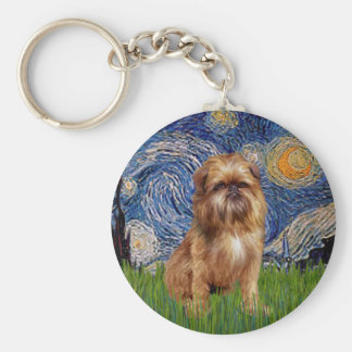 Starry Night - Brown Brussels Griffon Key Ring