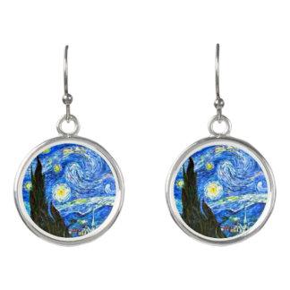 Starry Night by Van Gogh, Dangling Earrings